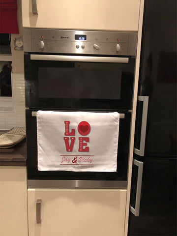 VA05 - Valentine's Love You Personalised Tea Towel