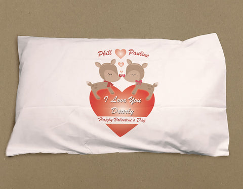 VA06 - Love You Dearly Valentine's Personalised White Pillow Case Cover