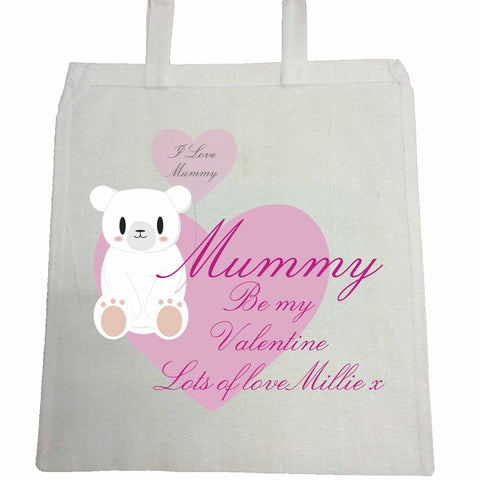 VA08 - Mummy Be My Valentine Personalised Canvas Bag for Life
