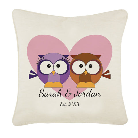 Loving Owl Hearts Personalised Cushion Cover