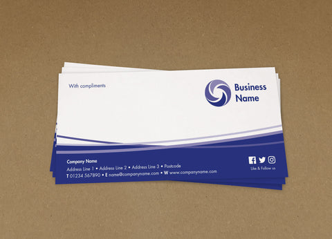 WBP01 - Curved Lines Branded Customisable Compliment Slips from £22.00+VAT