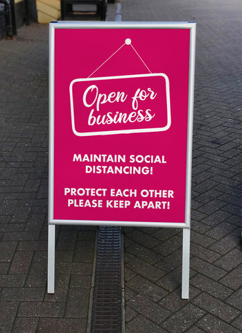 COVID-19 'Open for Business' Maintain Social Distancing Please Keep Apart Poster