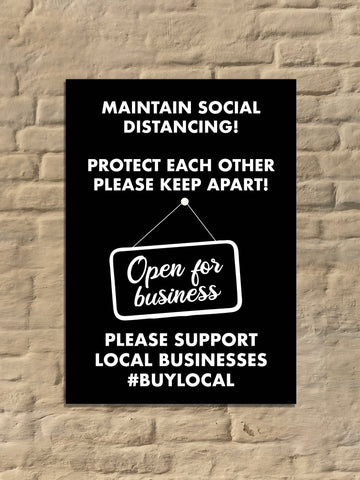 COVID-19 Maintain Social Distancing Protect Each Other 'Support Local Business' Poster