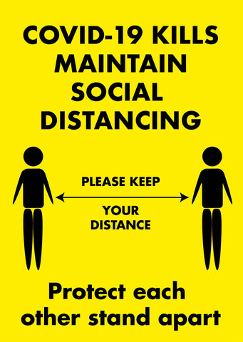 Covid 19 Kills Maintain Social Distancing Safety Poster for Businesses