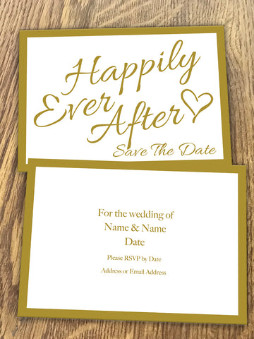 Personalised Happily Ever After Gold Wedding Save The Date  available from Willow Printing & Design.