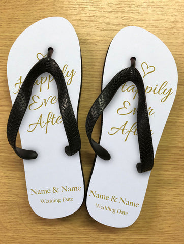 WD01 - Personalised Wedding Happily Ever After Gold Flip Flops