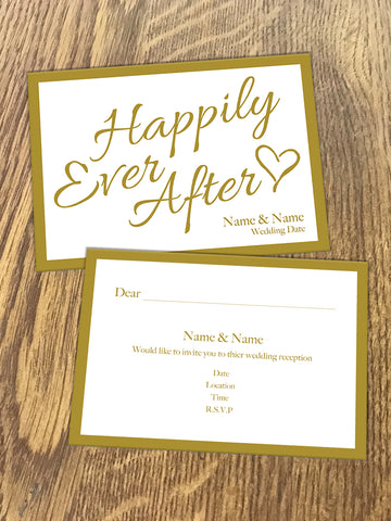 Personalised Happily Ever After Gold Wedding Invitation available from Willow Printing & Design.