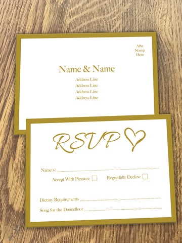 Personalised Happily Ever After Gold Wedding RSVP  available from Willow Printing & Design.