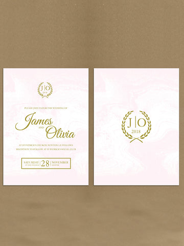 Personalised Initialed Leaf Crest Themed Wedding Invitations available from Willow Printing & Design.