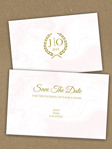 Personalised Wedding Gold Initialed Leaf Crest Themed Save The Date available from Willow Printing & Design.