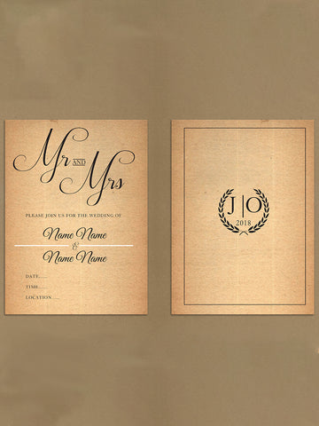 Personalised Wedding Natural Rustic Leaf Crest Themed Invitations from Willow Printing & Design.
