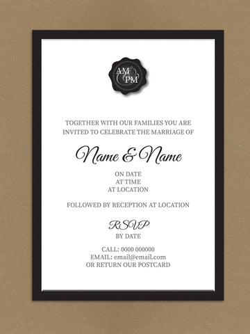 Personalised Wedding Black Initialed Stamp Seal Themed Wedding Invitation available from Willow Printing & Design.