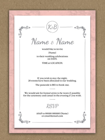 Personalised Wedding Pink Marble And White Circled Initialed Themed Invitations from Willow Printing & Design