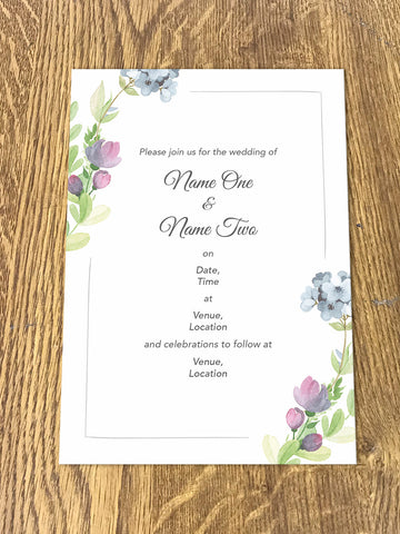 Personalised Wedding Floral Themed Invitations from Willow Printing & Design