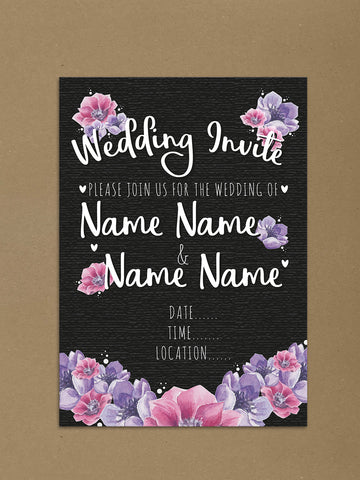 Personalised Wedding Black And Pinks Floral Themed Invitations from Willow Printing & Design