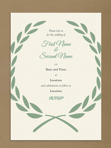 Personalised Wedding Cream And Forest Green Leaf Crest Themed Invitations