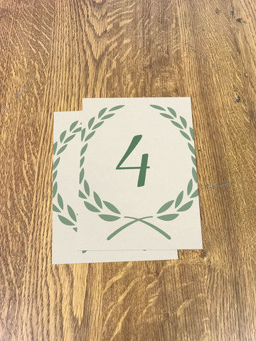 WD08 - Personalised Wedding Cream And Forest Green Leaf Crest Table Numbers