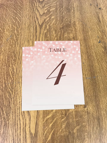 WD09 - Personalised Wedding Pink Bubbly Table Numbers