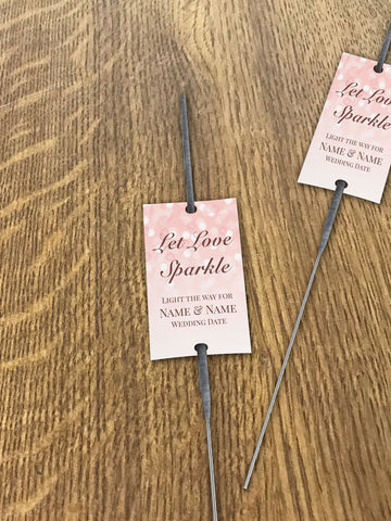WD09 - Personalised Wedding Pink Bubbly Sparkler Tags
