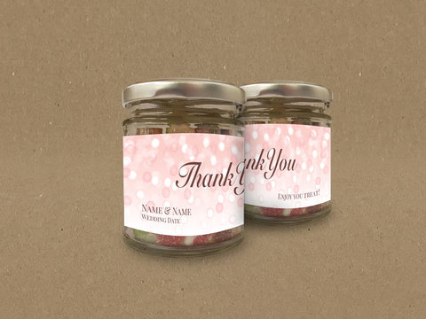 WD09 - Personalised Wedding Pink Bubbly Themed Sweet Jar