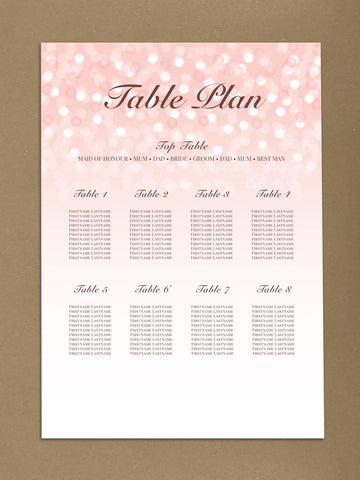 WD09 - Personalised Wedding Pink Bubbly Table Plan