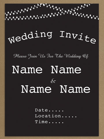 Personalised Wedding Black Bunting Themed Invitations from Willow Printing & Design