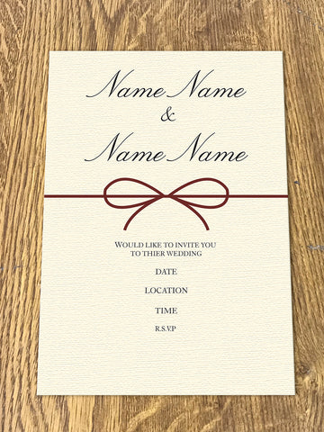 Personalised Wedding Bow Themed Invitations from Willow Printing & Design