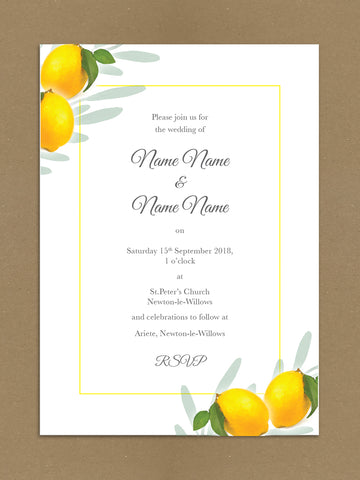 WD14 - Personalised Wedding Fresh Lemon Themed Invitations