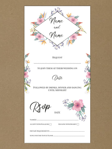 WD15 - Personalised Wedding Flowers Themed Invitations