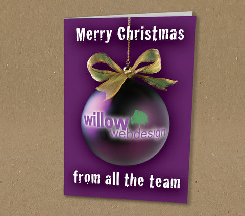 WP011 - Large Logo Bauble Personalised Christmas Card (Business)