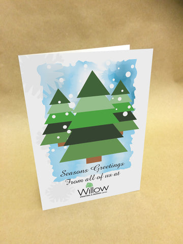 WP048 - Three Tree Snowy Personalised Logo Christmas Card (Business)
