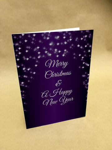 WP049 - Company Logo Purple Sparkle Personalised Christmas Card (Business)