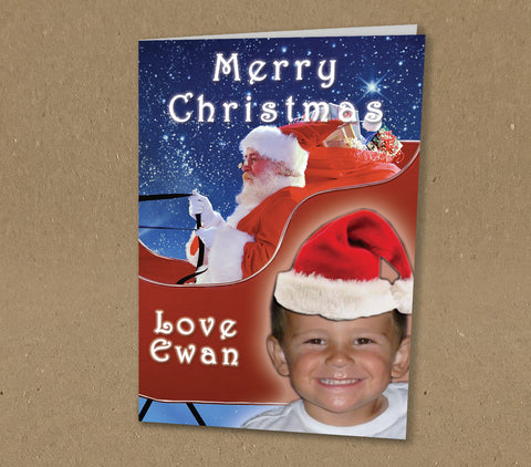 WP059 - Merry Christmas Santa Sleigh with Your Photo and Name Personalised Christmas Card (Personal)