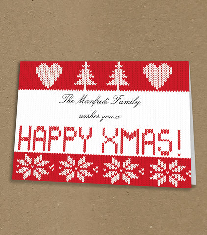 WP062 - Knitted themed Happy XMas Personalised Christmas Card (Personal)