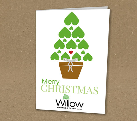 Christmas Cards for Business or Family with Heart & Tree Design with Logo or Name