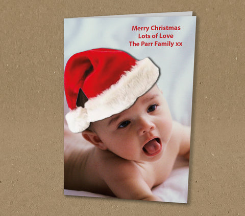 Christmas Cards for Family, Santa Hat added to Your Photo & Personalised Message
