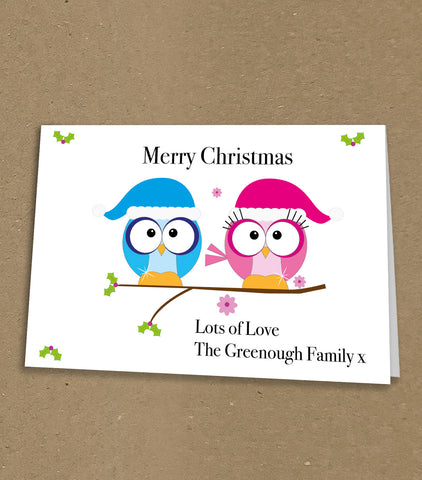 Christmas Cards for Business & Home, Personalised Cute Christmas Owls