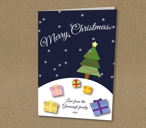 Christmas Cards for Business & Home, Personalised Fun, Colourful Scene with Presents