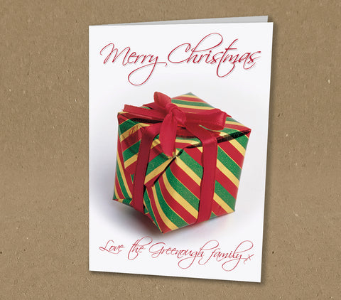 Christmas Cards for Business or Home, Personalised Red & Green Wrapped Present
