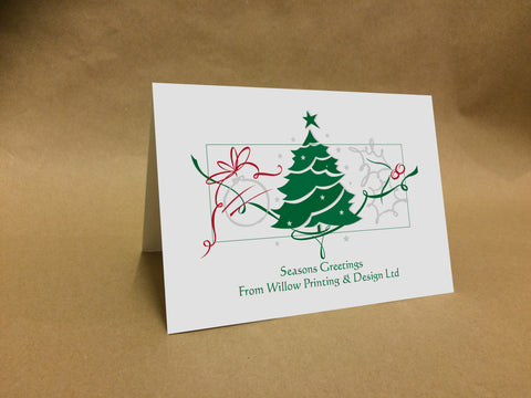 Christmas Cards for Business & Home, Tree & Swirls with Company Logo & Message
