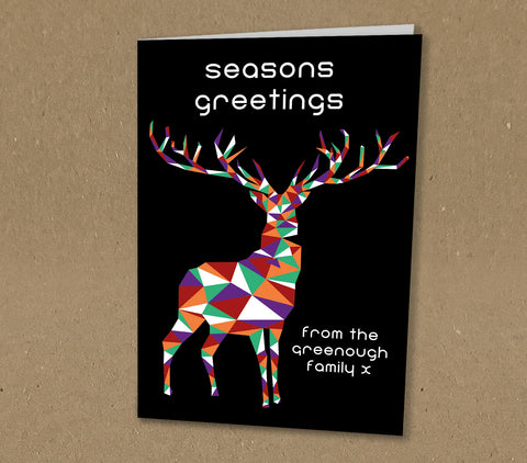 Christmas Cards for Business & Home, Psychedelic Reindeer with Company Logo & Message