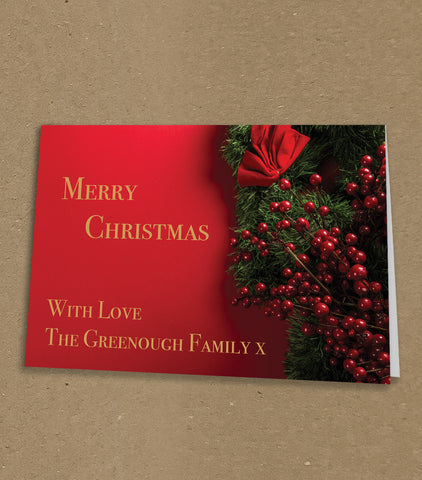 Christmas Cards for Business or Home, Classic Red Berries with Logo or Message