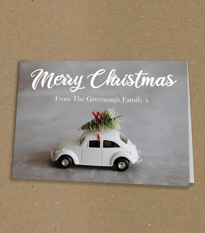 Christmas Cards for Business or Home, Driving Home with Christmas Tree Personalised
