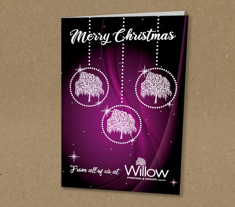 Christmas Cards for Business with Diamond Baubles, Company Logo & Message