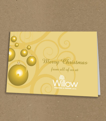 Christmas Cards for Business & Home, Gold Baubles and Swirls with Personal Message