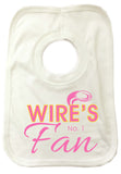 WW03 - Wire's No.1 Fan Personalised Baby Vest, example Warrington Wolves