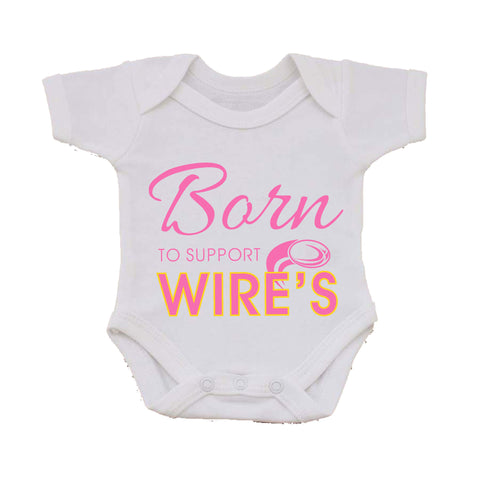 WW04 - Born To Support The Wire's Personalised Baby Vest, examples Warrington Wolves