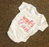 WW05 - Wire's Smallest Fan Personalised Baby Vest, examples Warrington Wolves