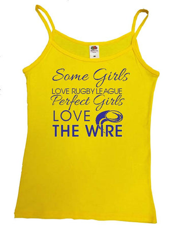 WW13 - Some Girls Love Rugby League, Perfect Girls Love The Wire Vest, example Warrington Wolves