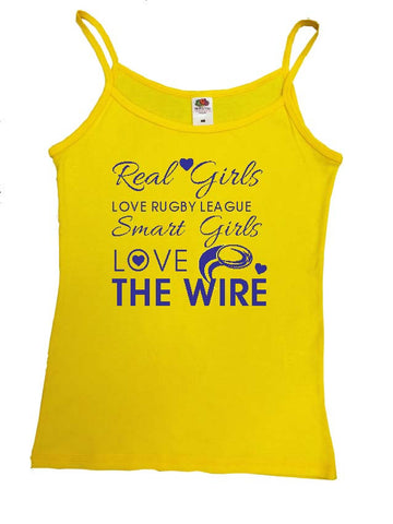 WW14 - Real Girls Love Rugby League, Smart Girls Love The Wire Vest, example Warrington Wolves